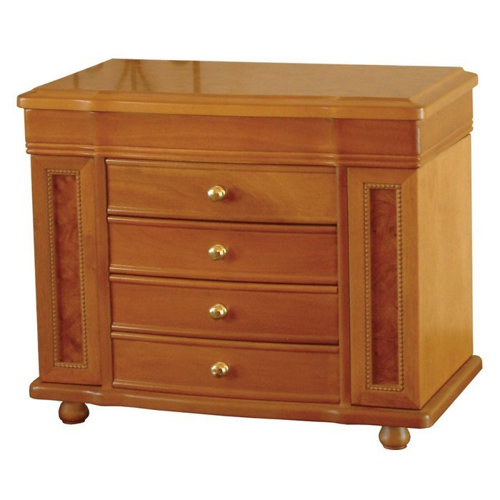Elegant Golden Knobs Wide Oak Night Stand Style Jewelry Armoire
