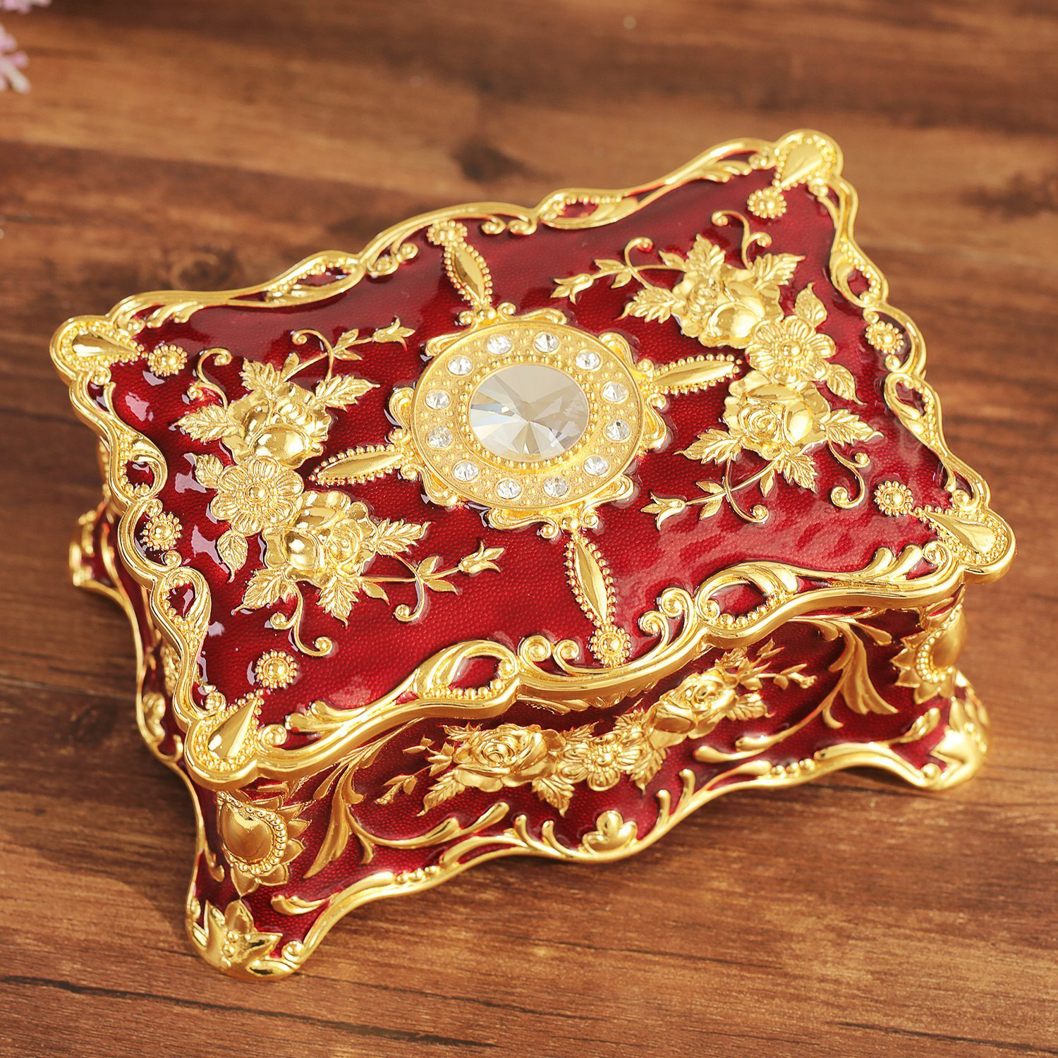 Intricate Gold Red Antique Jewelry Chest