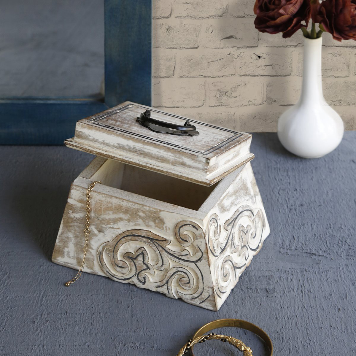 Vintage White Distressed Wooden Trinket Box