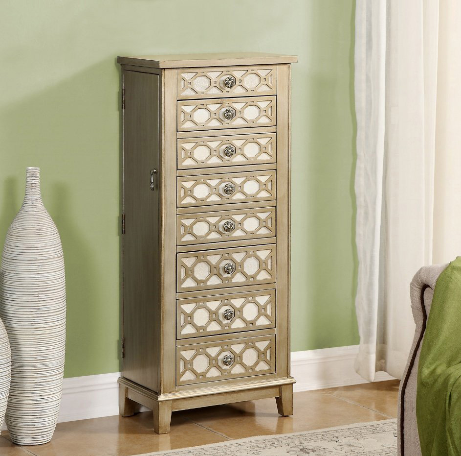 Creative Decorative Patterned Wood Floor Standing Jewelry Armoire