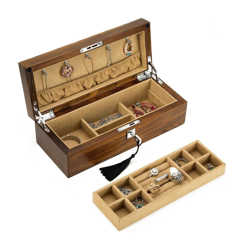 Elegant Minimalist Solid Wood Coffee Brown Locking Jewelry Box