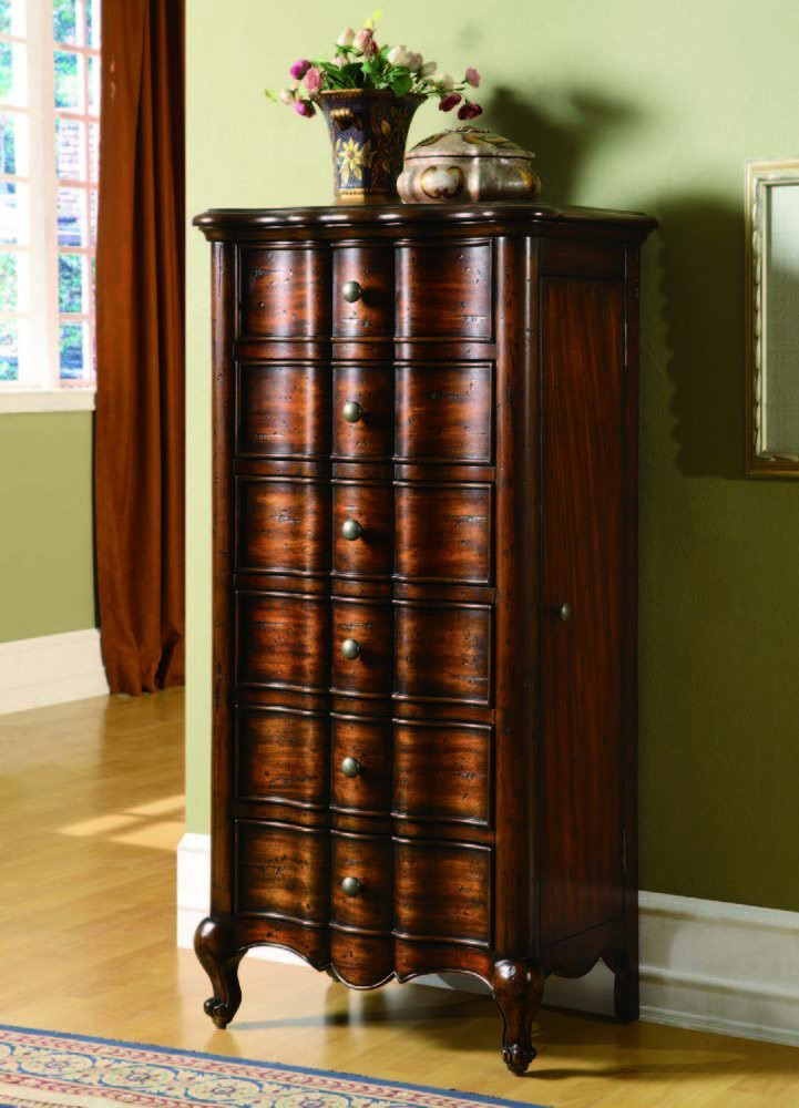 Elegant Rustic Curved Design Wall Standing Jewelry Armoire