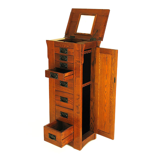 Elegant Tall Oak Floor Standing Large Capacity Jewelry Armoire