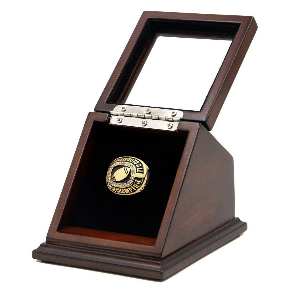 Elegant Wooden Glass Lid Ring Display Box