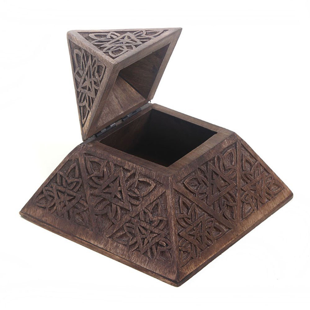 Indie Decorative Pyramid Shaped Wooden Trinket Box