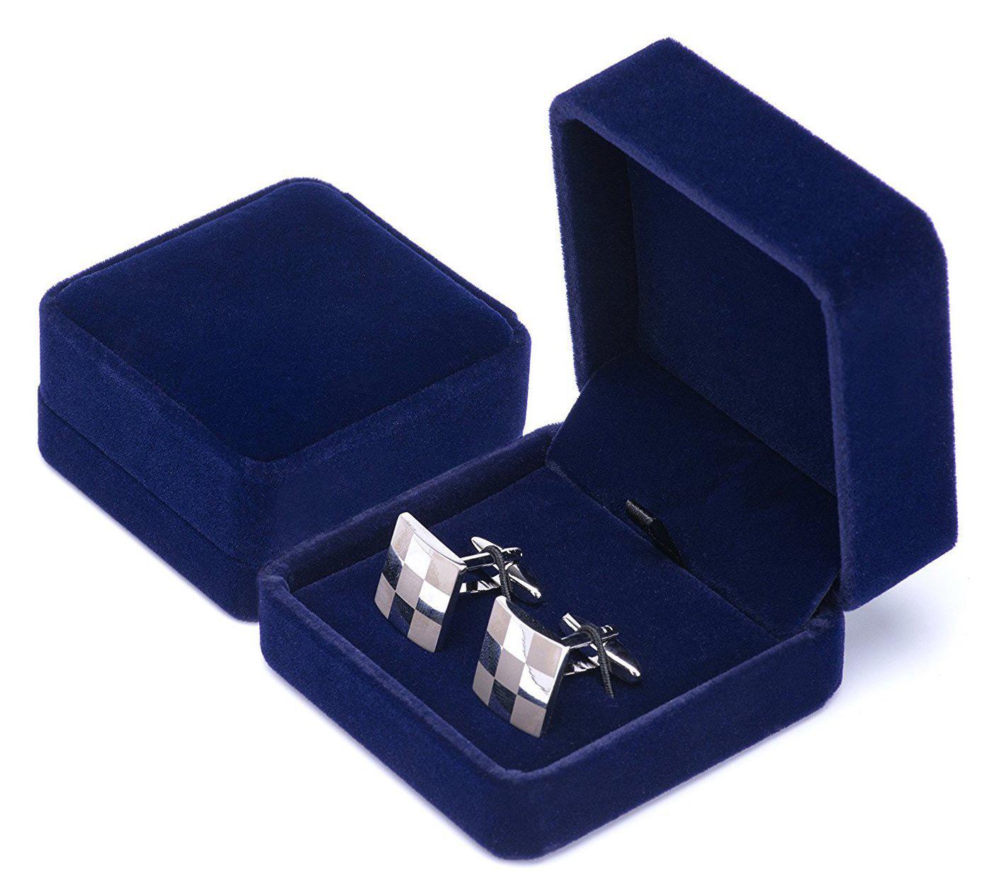 Simple Elegant Blue Flocked Velvet Earring Box