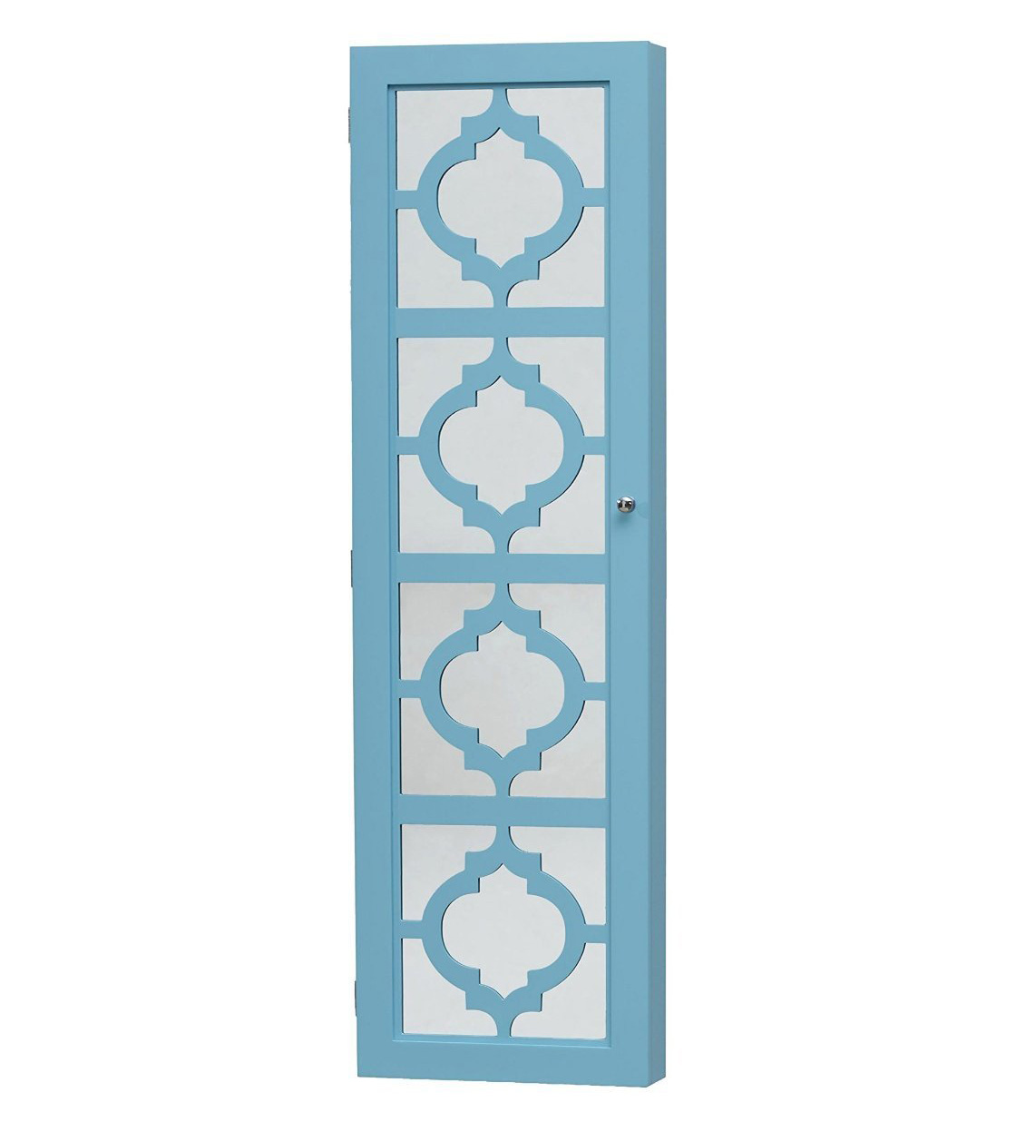 Creative Blue Mirrored Wall Hanging Tall Jewelry Armoire