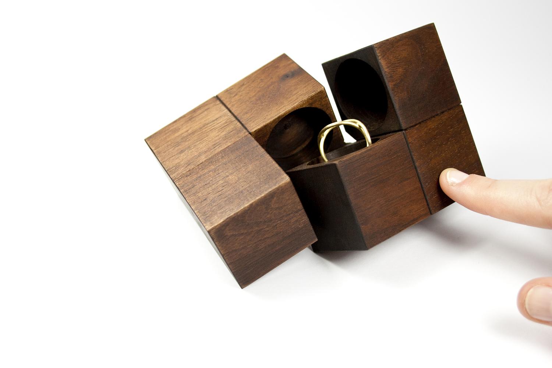 Creative Wooden Square Design Ring Box