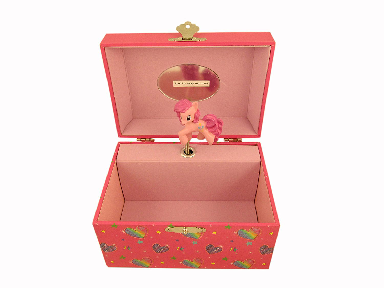 Cute Orange & Pink Mirrored Musical Jewelry Box