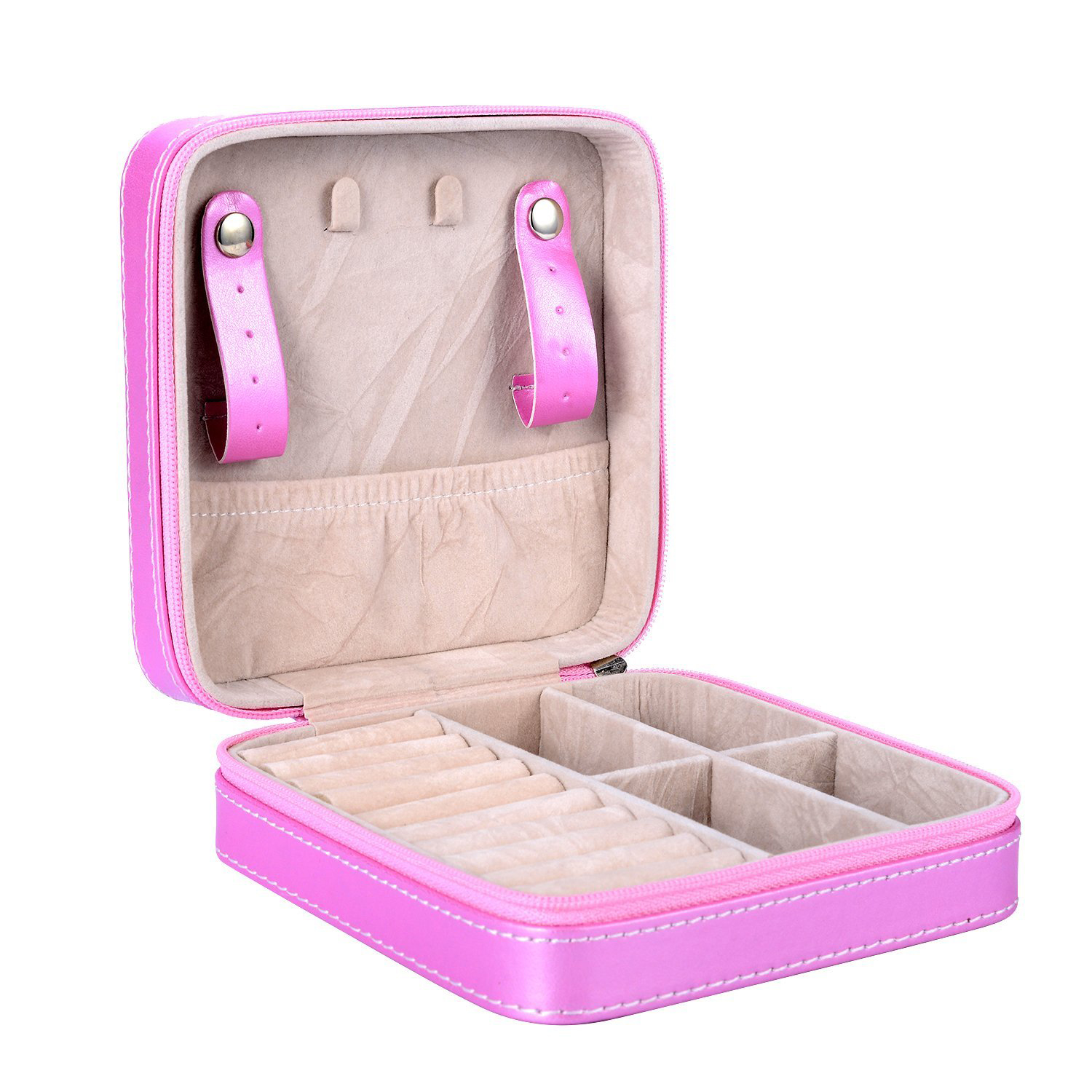Cute Pink Zippered Small Jewelry Travel Box