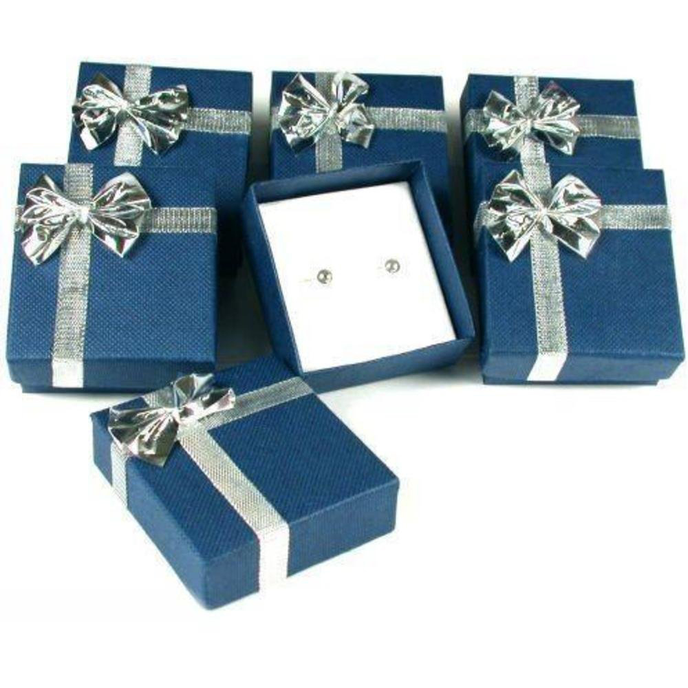 Elegant Blue Patterned Jewelry Box with Golden Ribbon