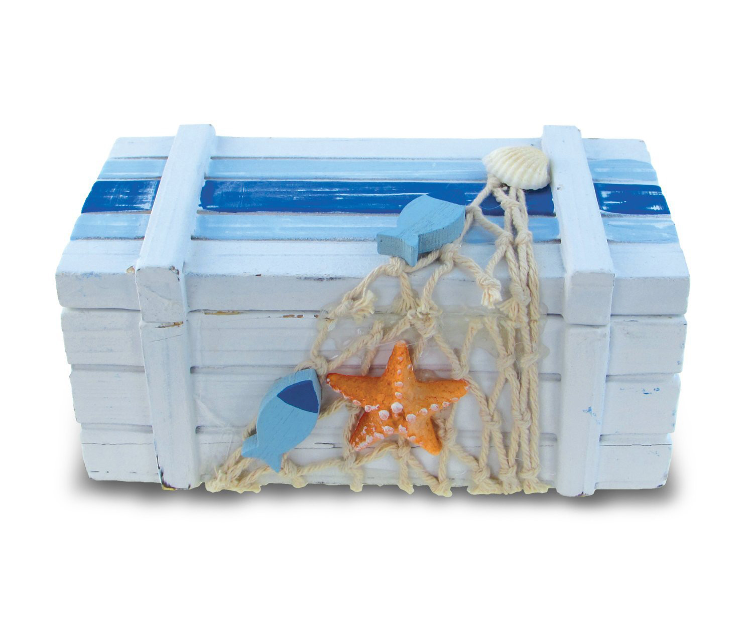 Light Blue Sea Chest Wooden Trinket Box