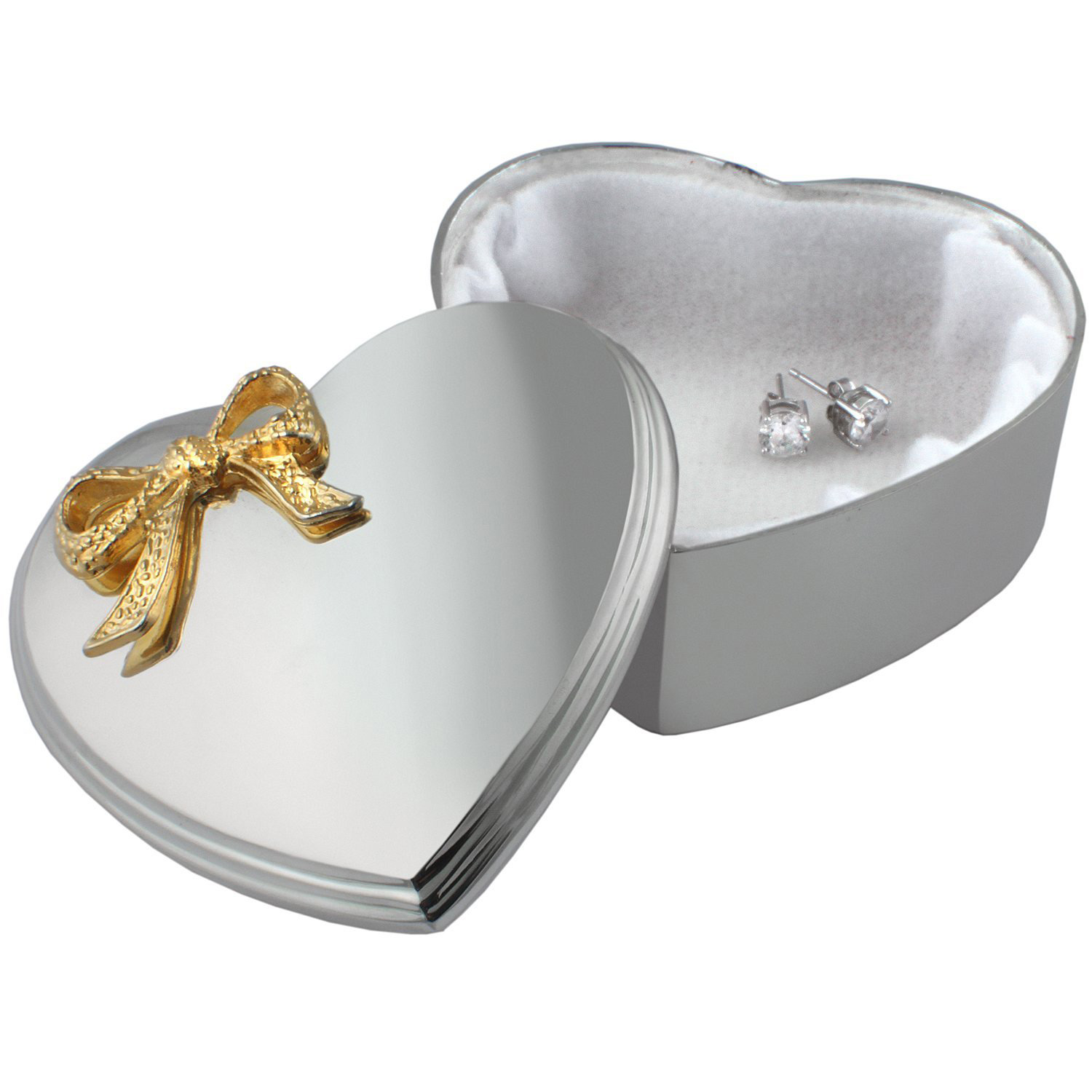 Minimalist Silver Golden Ribbon Heart Shaped Earring Box