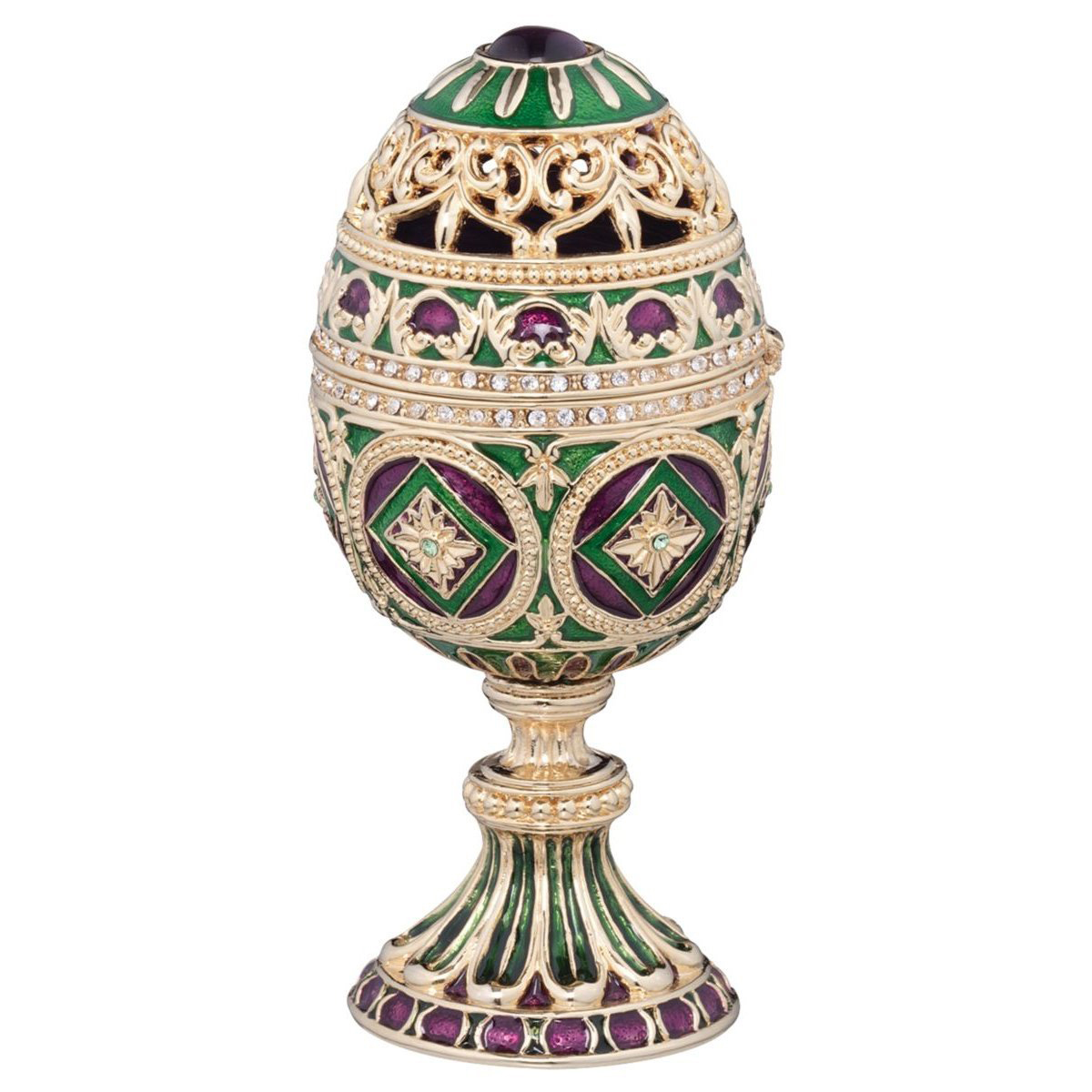 Beautiful Decorative Faberge Egg Golden Jewelry Box