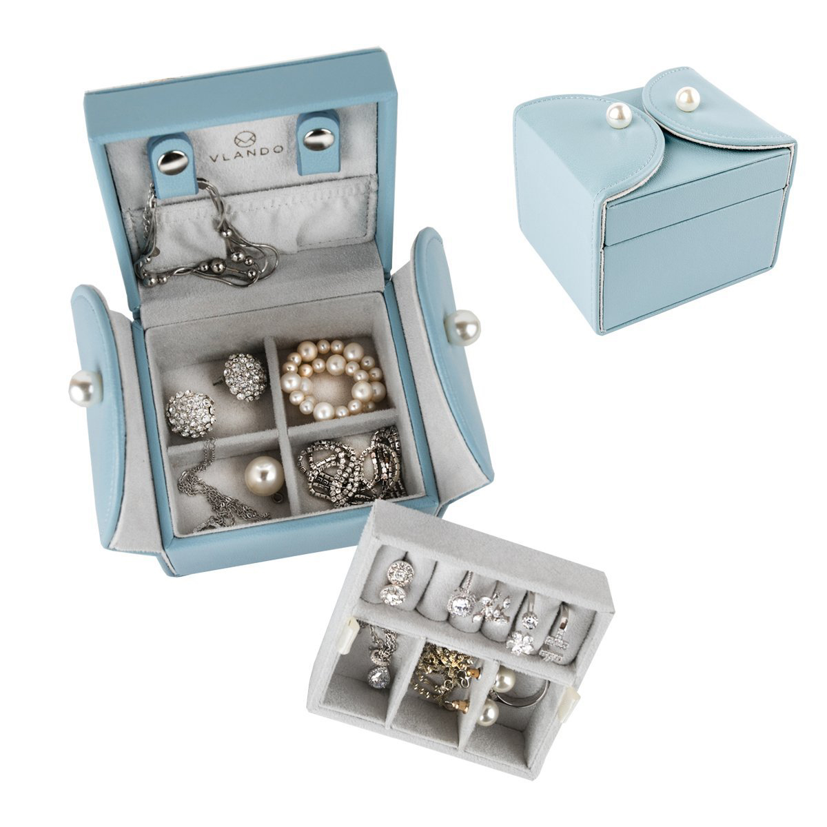 Beautiful Light Blue Gray Interior Small Jewelry Box