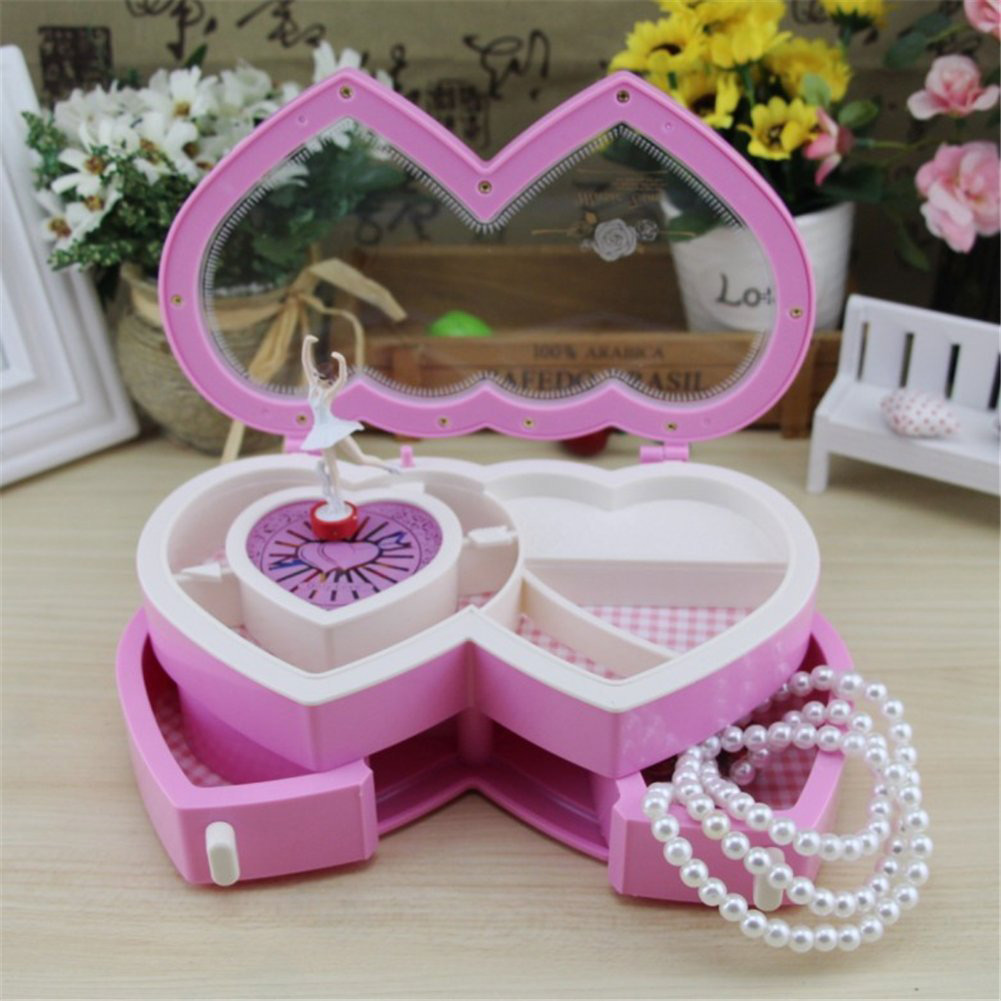 Beautiful Pink United Hearts Shaped Musical Jewelry Box
