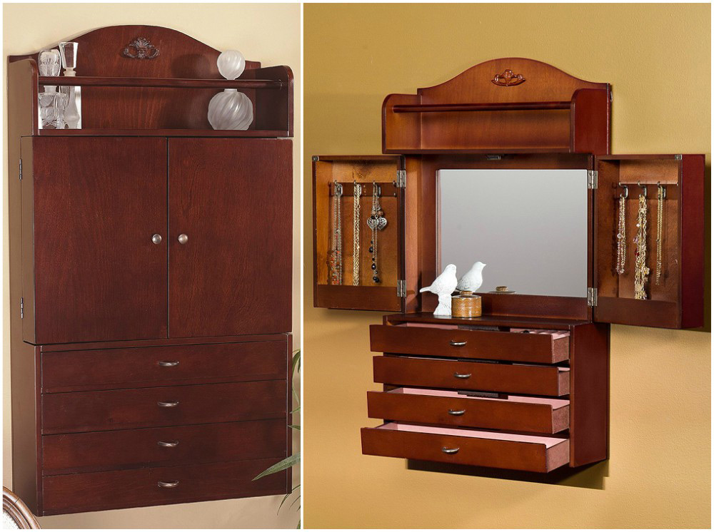 Beautiful Rustic Cabinet Style Wall Hanging Mirrored Jewelry Armoire