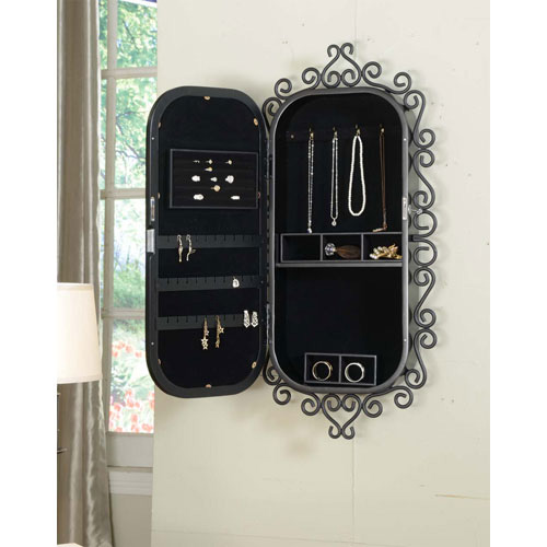 Creative Decorative Oval Wall Hanging Jewelry Armoire