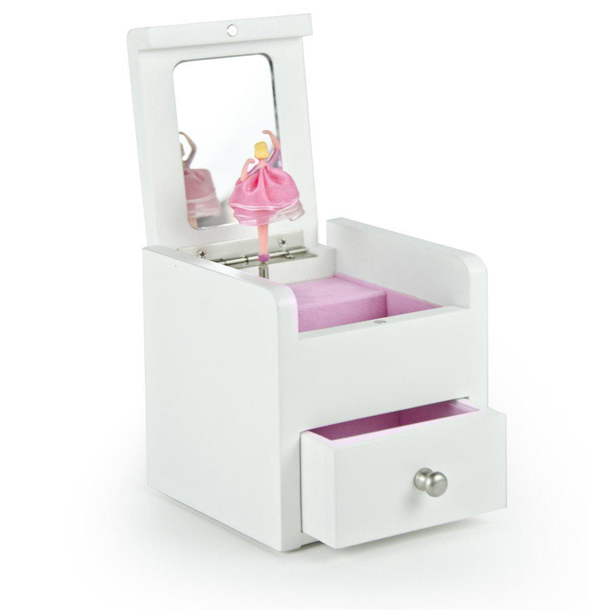 Cute White Pink Interior Mirrored Girls Jewelry Box