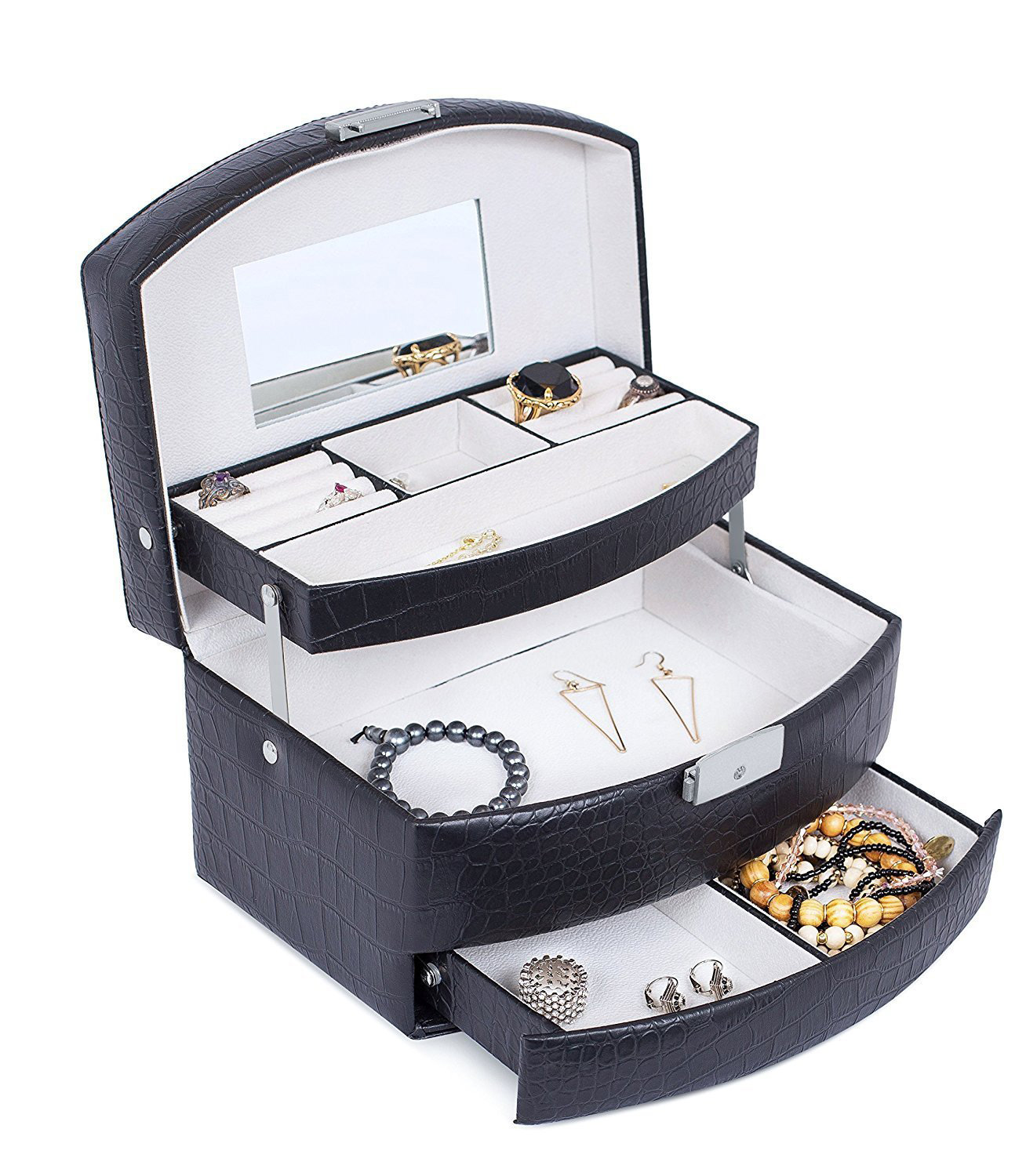 Elegant Countertop Black Faux Leather Locking Jewelry Box