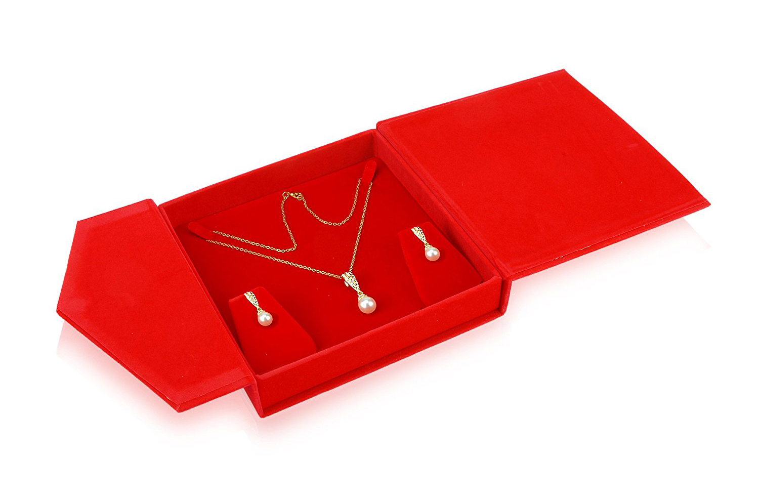 Elegant Intense Red Jewelry Set Gift Box