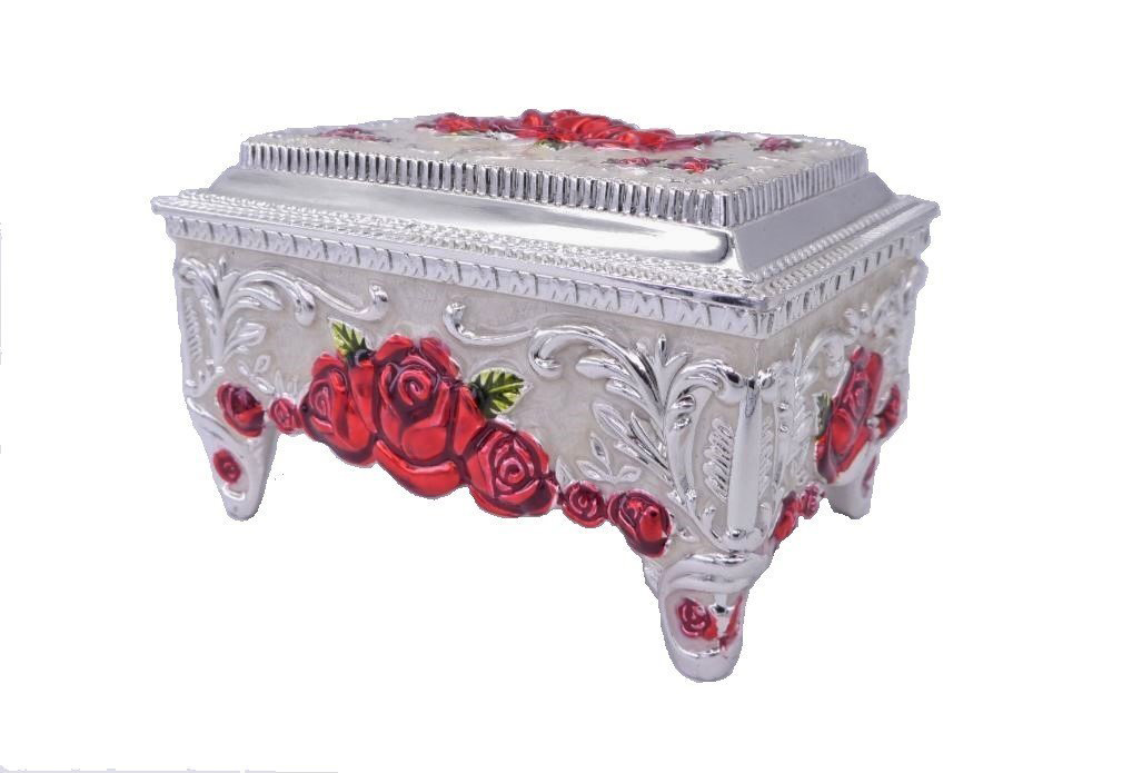 Elegant Silver Red Rose Decorated Antique Jewelry Box