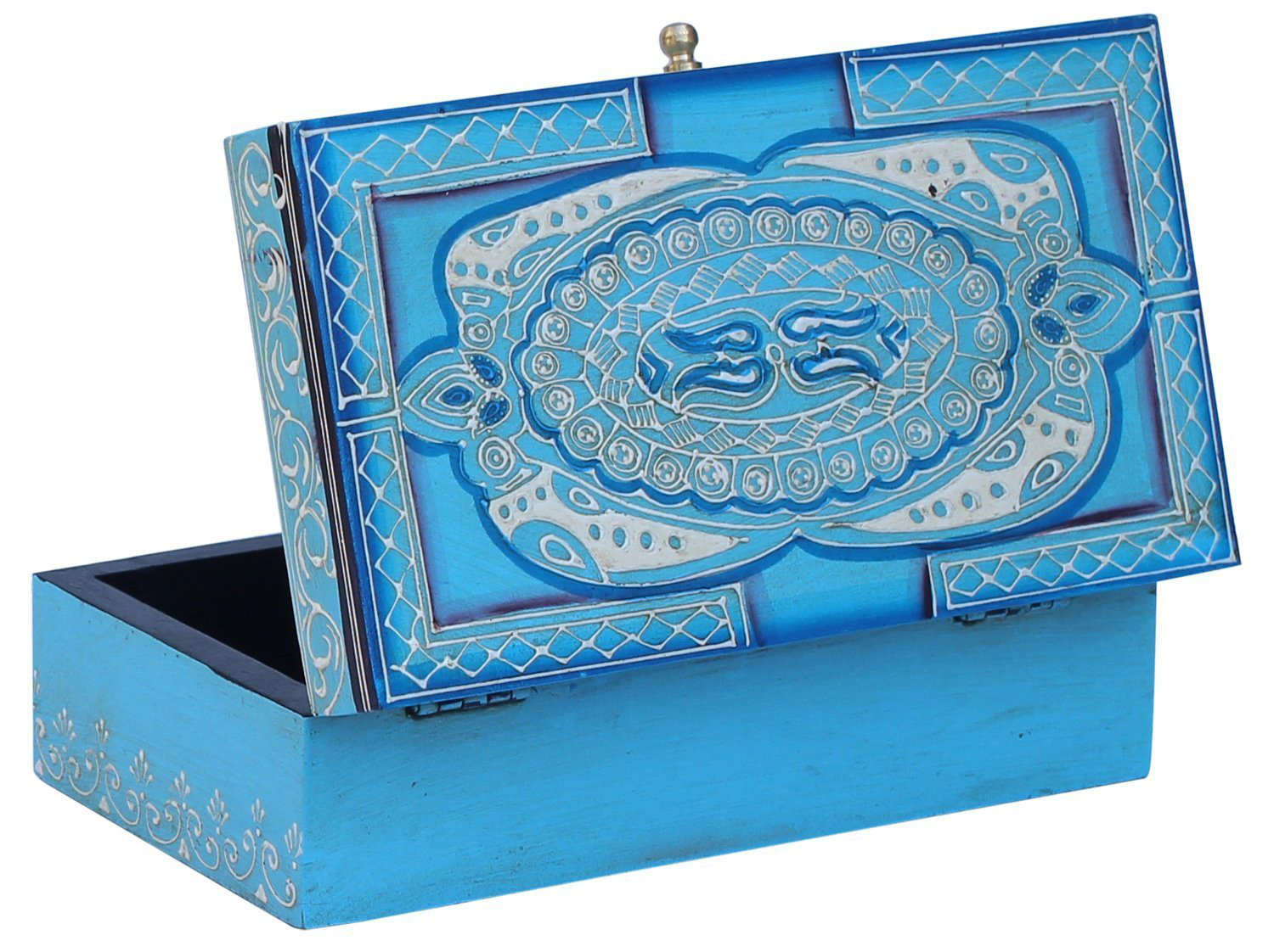 Large Blue Decorative Wooden Trinket Box