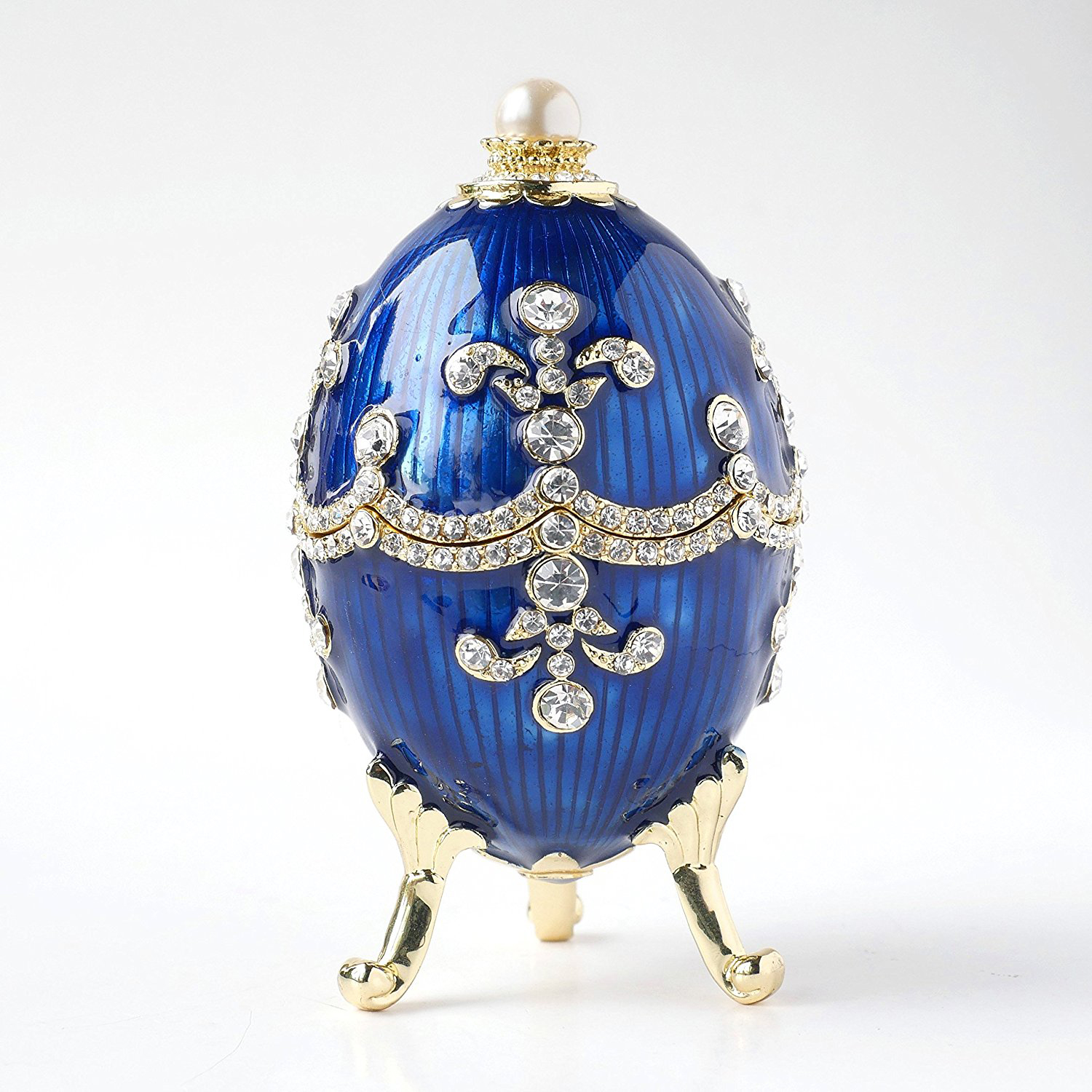 Beautiful Royal Blue Gold Accents Swarovski Adorned Faberge Jewelry Box