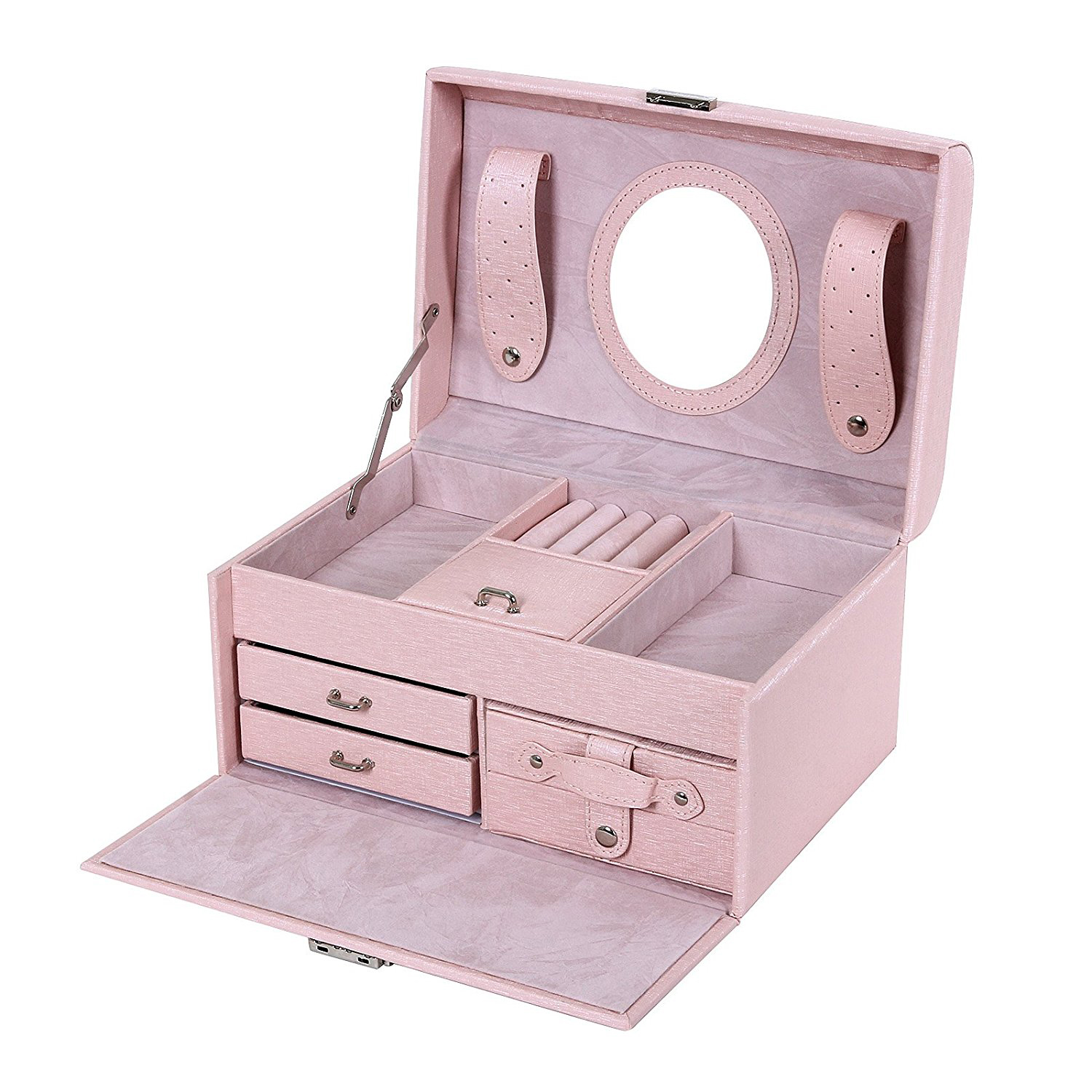Creative Pink Faux Leather Mirrored Large Jewelry Box