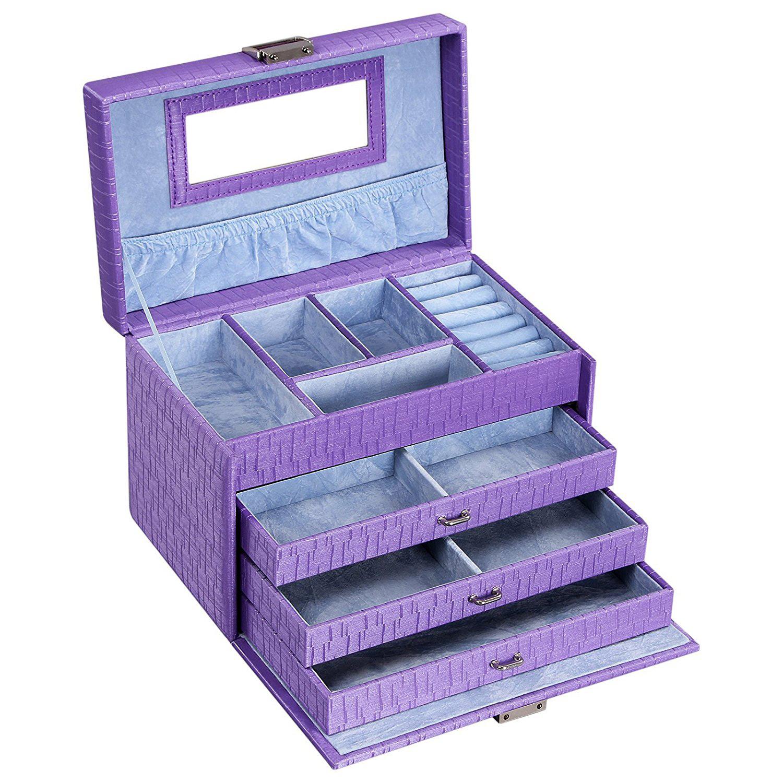 Cute Purple Locking Large Countertop Jewelry Box