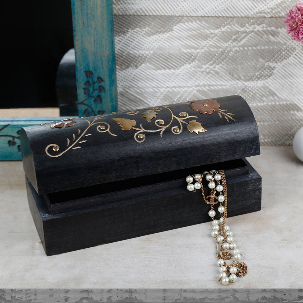 Decorative Black Vintage Wooden Trinket Box