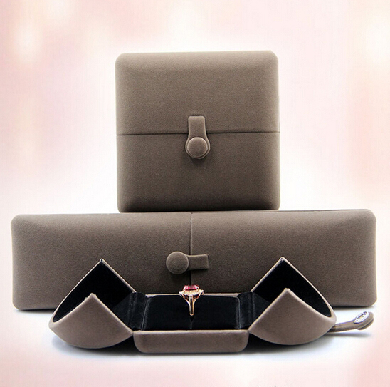 Elegant Gray Velvet Covered Jewelry Gift Box Set