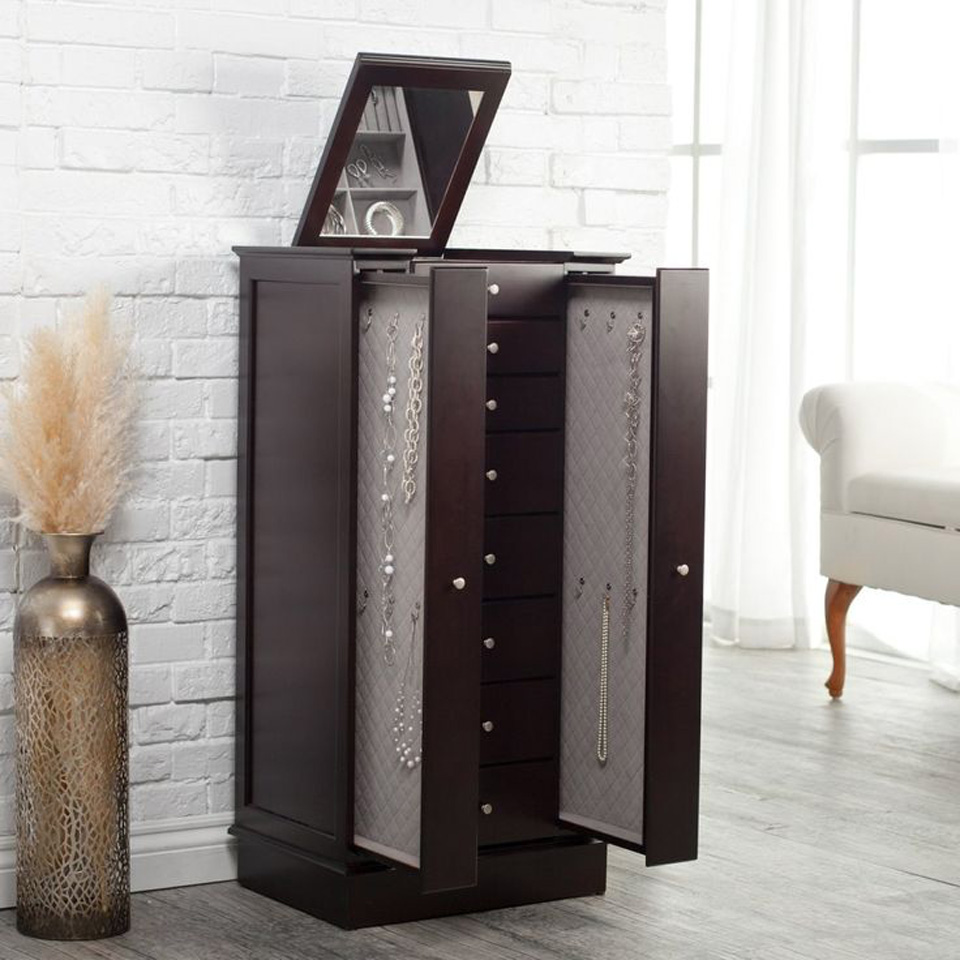 Elegant Premium Dark Brown Large Floor Standing Jewelry Armoire