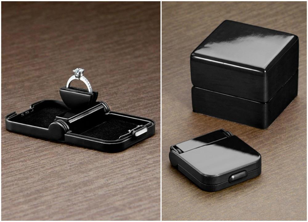 Elegant Slim Black Engagement Ring Box