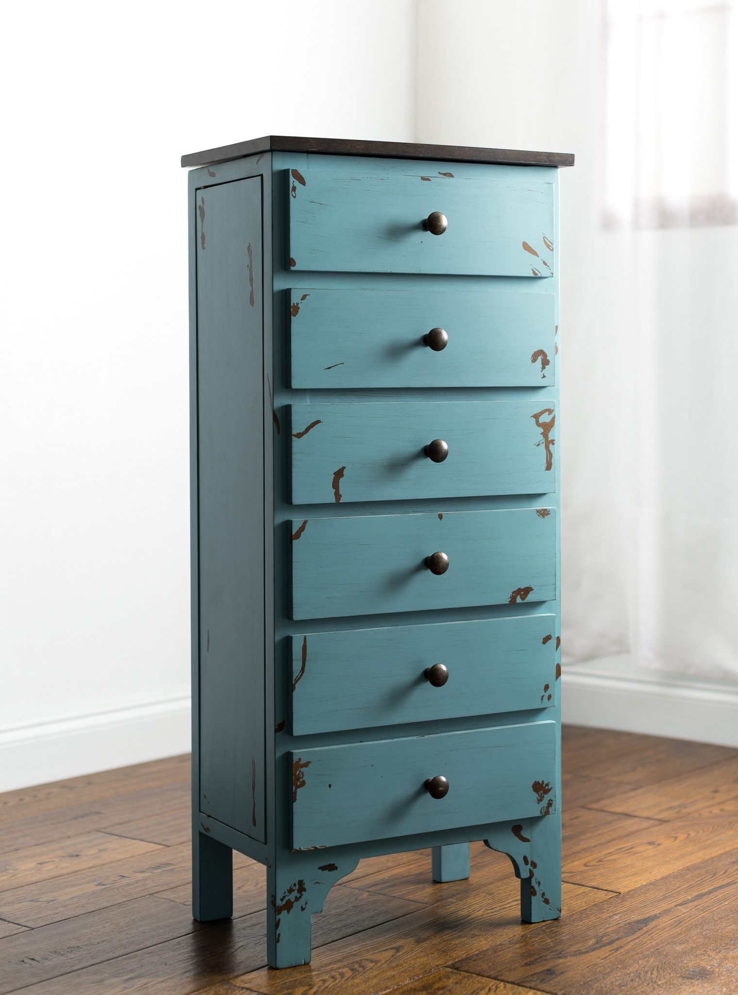 Rustic Blue Simple Floor Standing Medium Jewelry Armoire