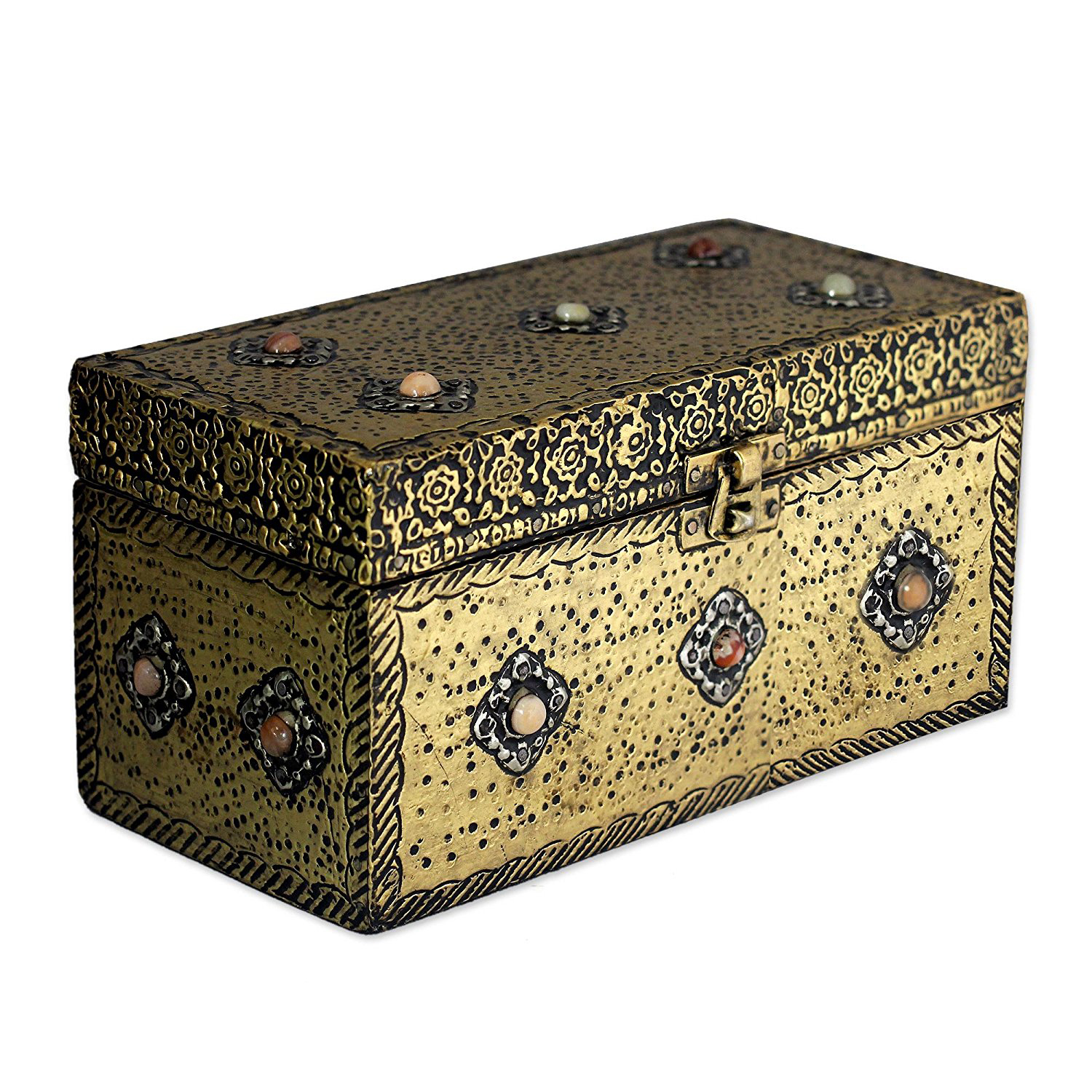 Beautiful Distressed Gold Vintage Jewelry Chest