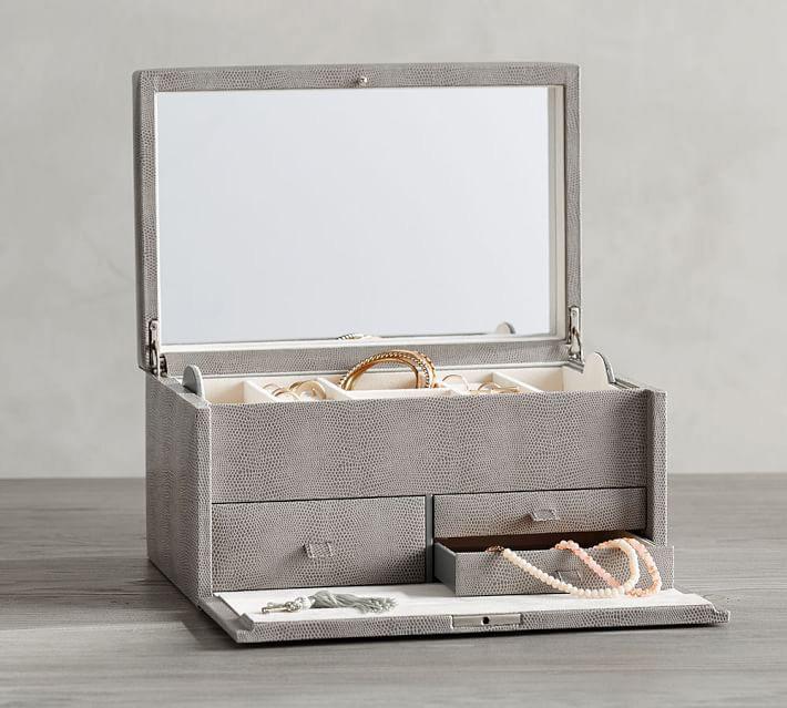Beautiful Minimalist Gray Mirrored Countertop Locking Jewelry Box