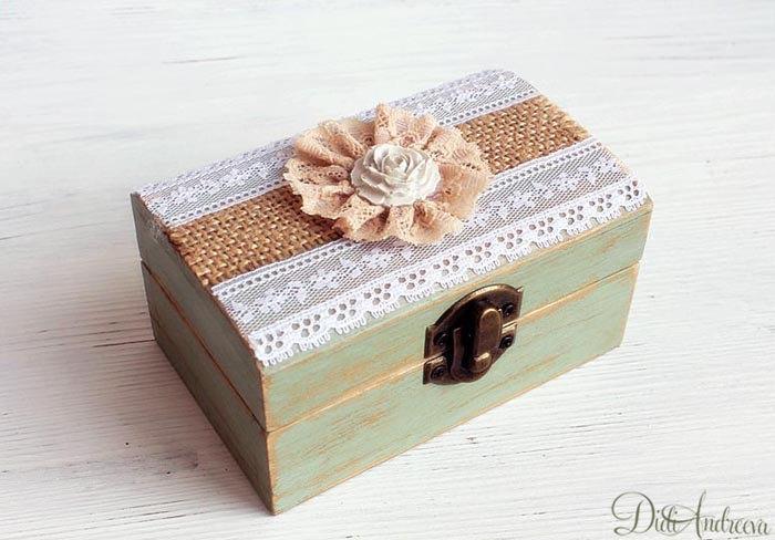 Beautiful Vintage Wooden Wedding Ring Box