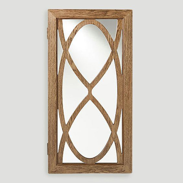 Creative Abstract Wooden Mirrored Hanging Jewelry Armoire
