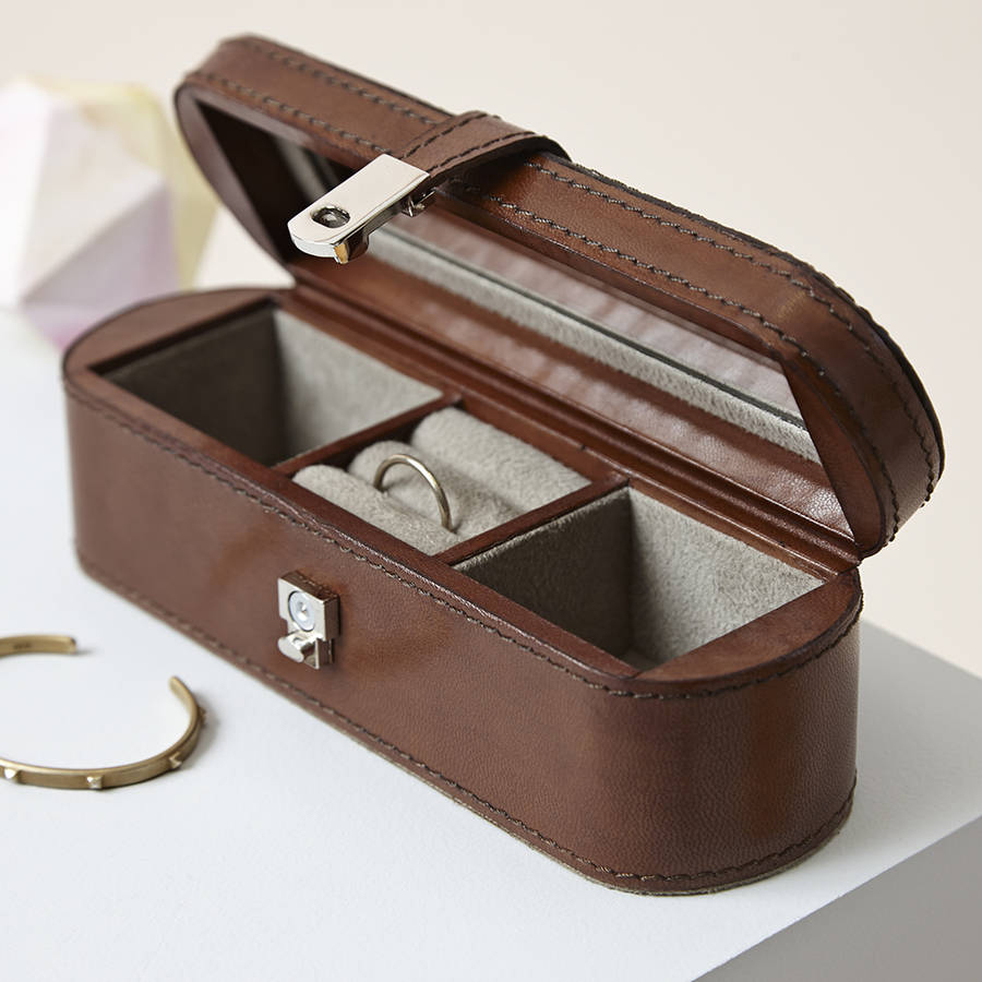 Cute Brown Leather Small Locking Jewelry Box