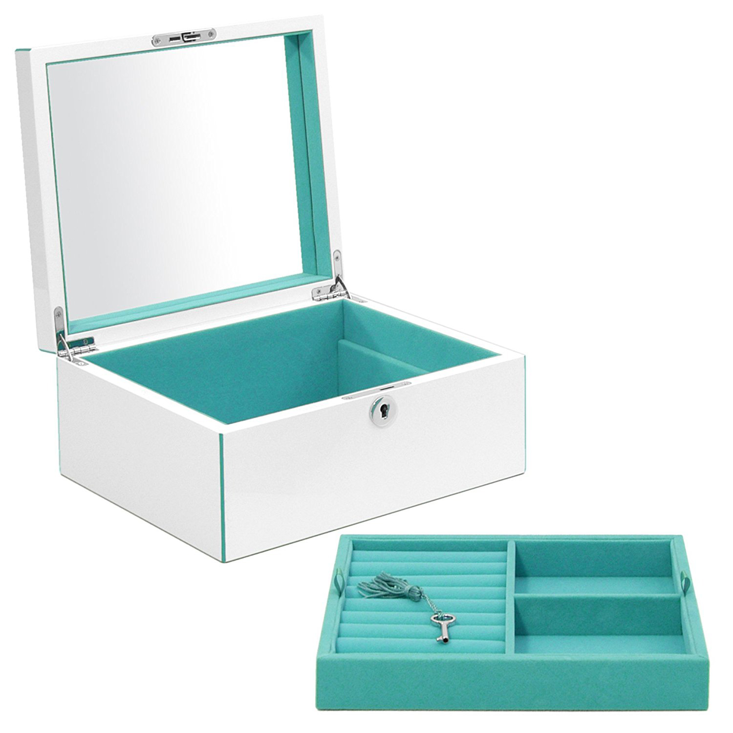 Elegant Silver Large Mirrored Jewelry Box With Teal Interior