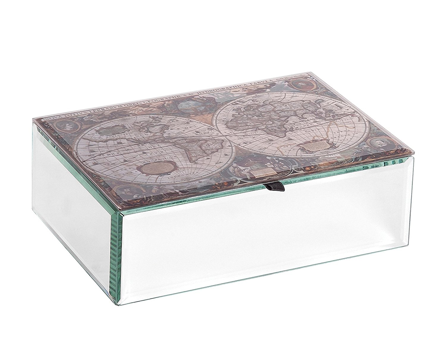 Fully Mirrored Geography Themed Lid Jewelry Box