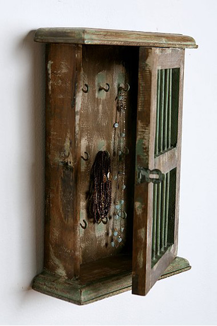 Rustic Distressed Wooden Wall Hanging Jewelry Armoire