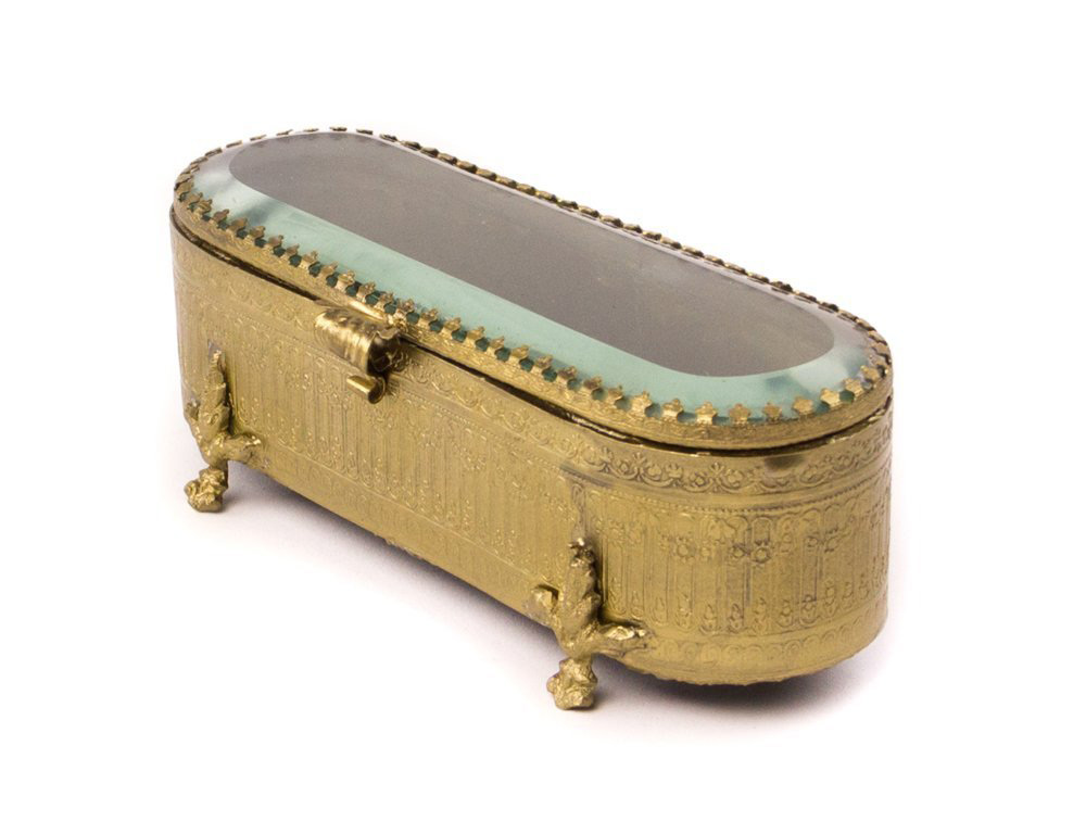 Vintage Antique Golden Intricate Jewelry Box