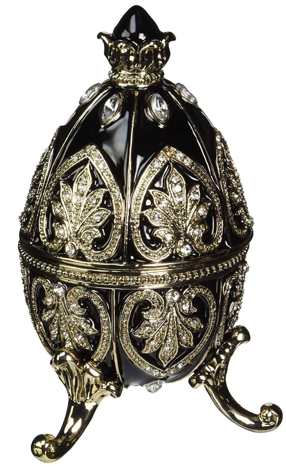 Beautiful Black Enamel Gold Floral Pattern Adorned Faberge Egg Jewelry Box