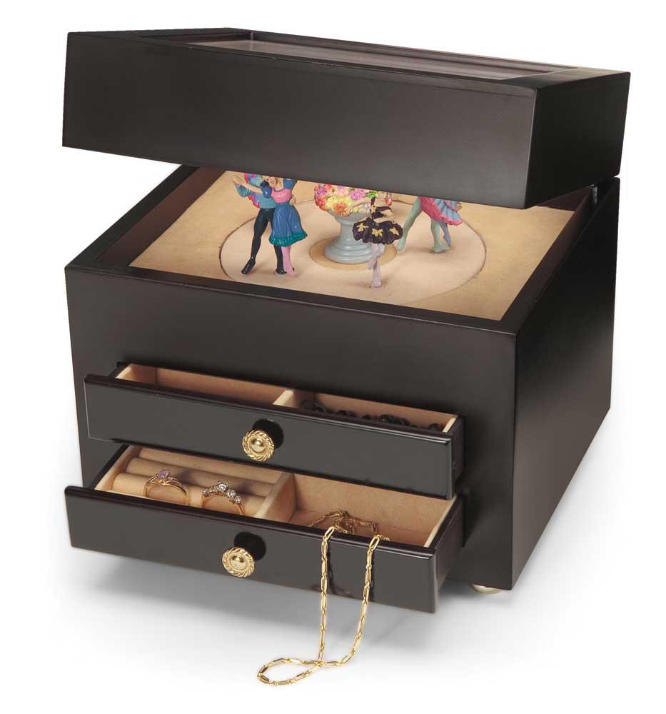 Beautiful Dark Brown Large Musical Jewelry Box