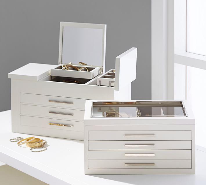 Beautiful Large Capacity Countertop Glass Lid White Jewelry Box