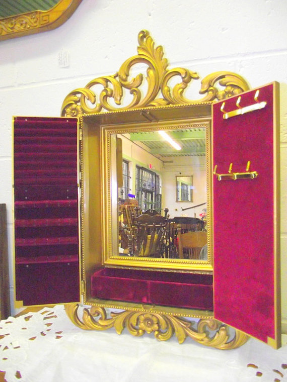 Creative Golden Double Door Mirrored Jewelry Armoire