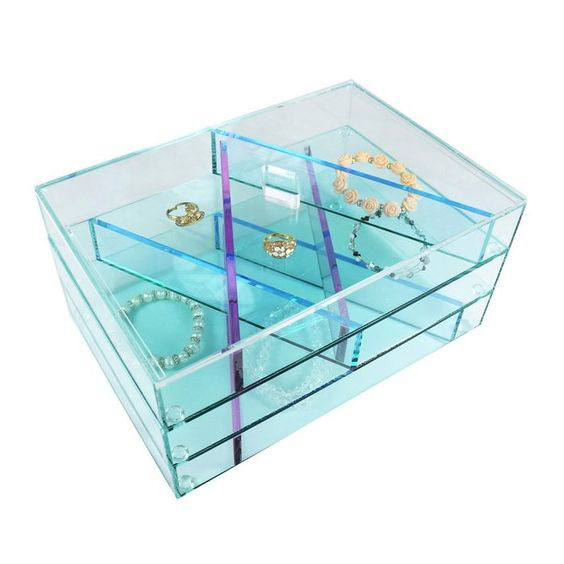 Cute Blue Tint Large Capacity Acrylic Jewelry Box