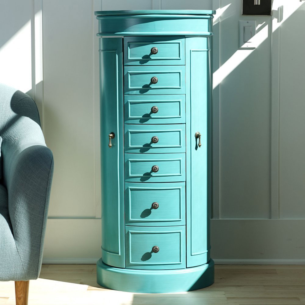 Cute Curved Tall Teal Standing Jewelry Armoire